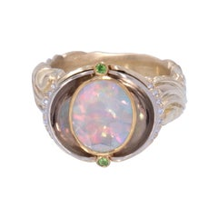 Brazilian Opal Ring in White and Yellow Gold