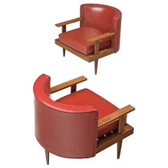 Brazilian Pair of Armchairs in Red Leatherette