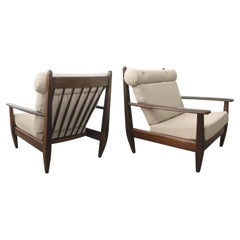 Brazilian Pair of Lounge Chairs in Carved Solid Teak, 1960'S