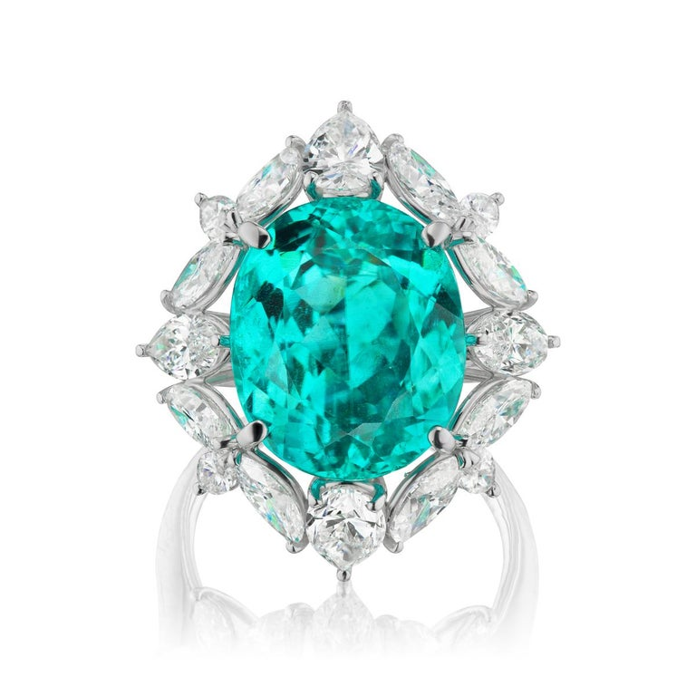 Oval Cut Brazilian Paraiba 12.11 cts And Diamond Ring In Platinum By RayazTakat For Sale