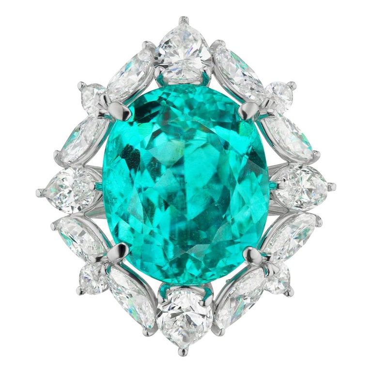 Brazilian Paraiba 12.11 cts And Diamond Ring In Platinum By RayazTakat For Sale