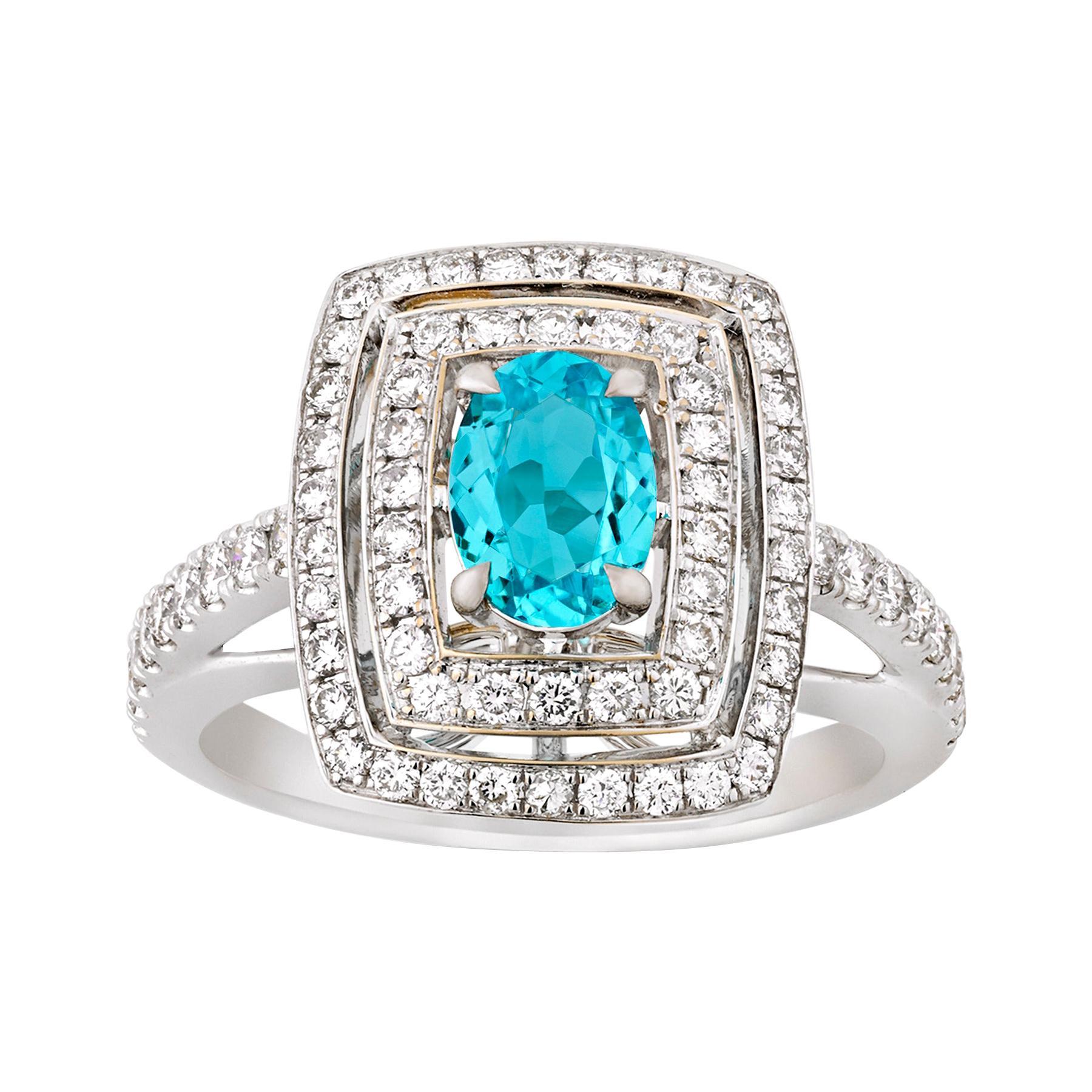 Brazilian Paraiba Tourmaline and Diamond Ring