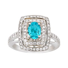 Brazilian Paraiba Tourmaline and Diamond Ring