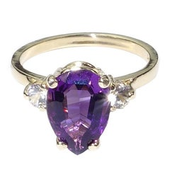 Pear Shape Amethyst and White Sapphires in Yellow Gold Ring February Birthstone