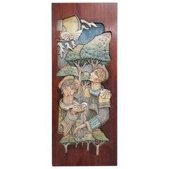 Brazilian Polychrome Hand Carved Honduras Mahogany Panel / Door