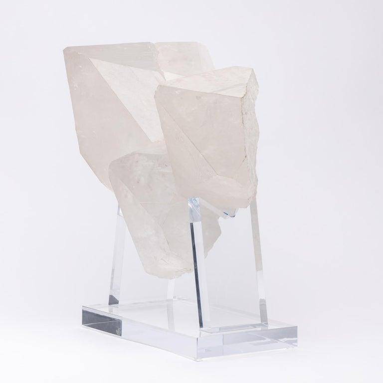 Brazilian quartz cluster sculpture in a custom made acrylic base.