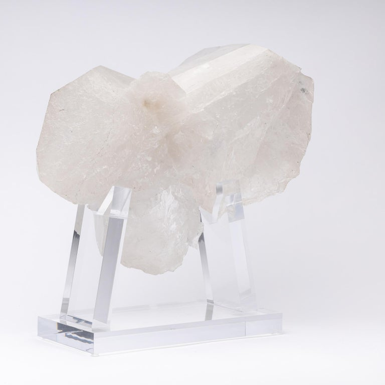 Mexican Brazilian Quartz Cluster Natural Form in Acrylic Base For Sale