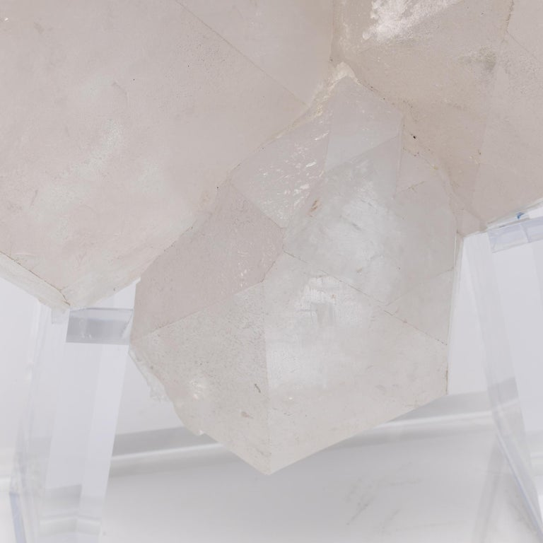 Brazilian Quartz Cluster Natural Form in Acrylic Base For Sale 3