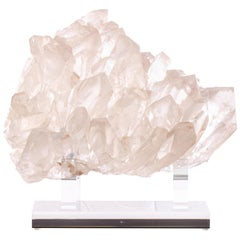 Brazilian Quartz Cluster Sculpture in Acrylic Base