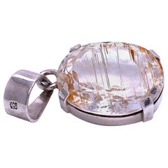Brazilian Quartz Crystal Pendant with Rutile in Sterling Silver Setting