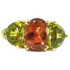Brazilian Rose 3.16 Carat Tourmaline Peridot Diamond Three-Stone Ring, Gold