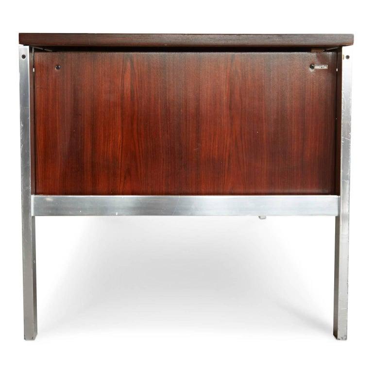 Brazilian Rosewood and Aluminum 'Escriba' Desk by Tora Brazil, circa 1970 In Good Condition For Sale In Los Angeles, CA