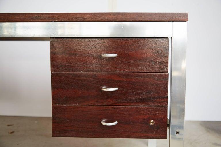 Brazilian Rosewood and Aluminum 'Escriba' Desk by Tora Brazil, circa 1970 For Sale 1