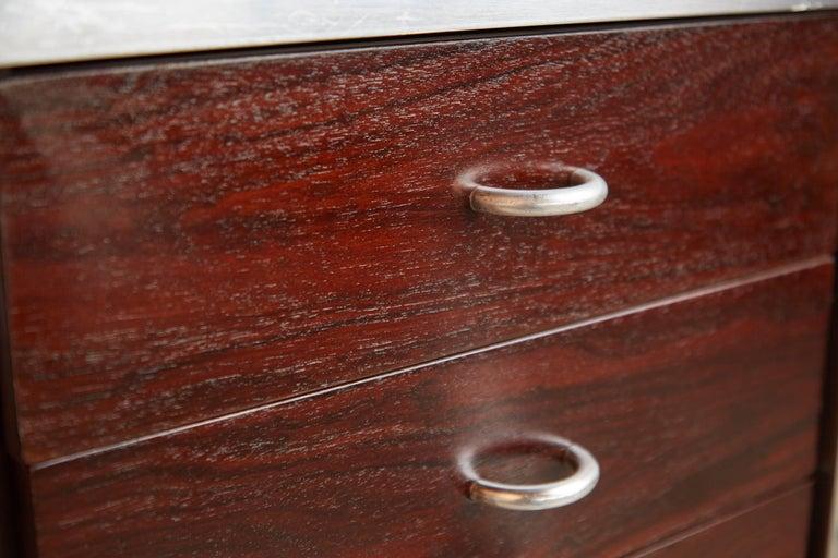 Brazilian Rosewood and Aluminum 'Escriba' Desk by Tora Brazil, circa 1970 For Sale 4