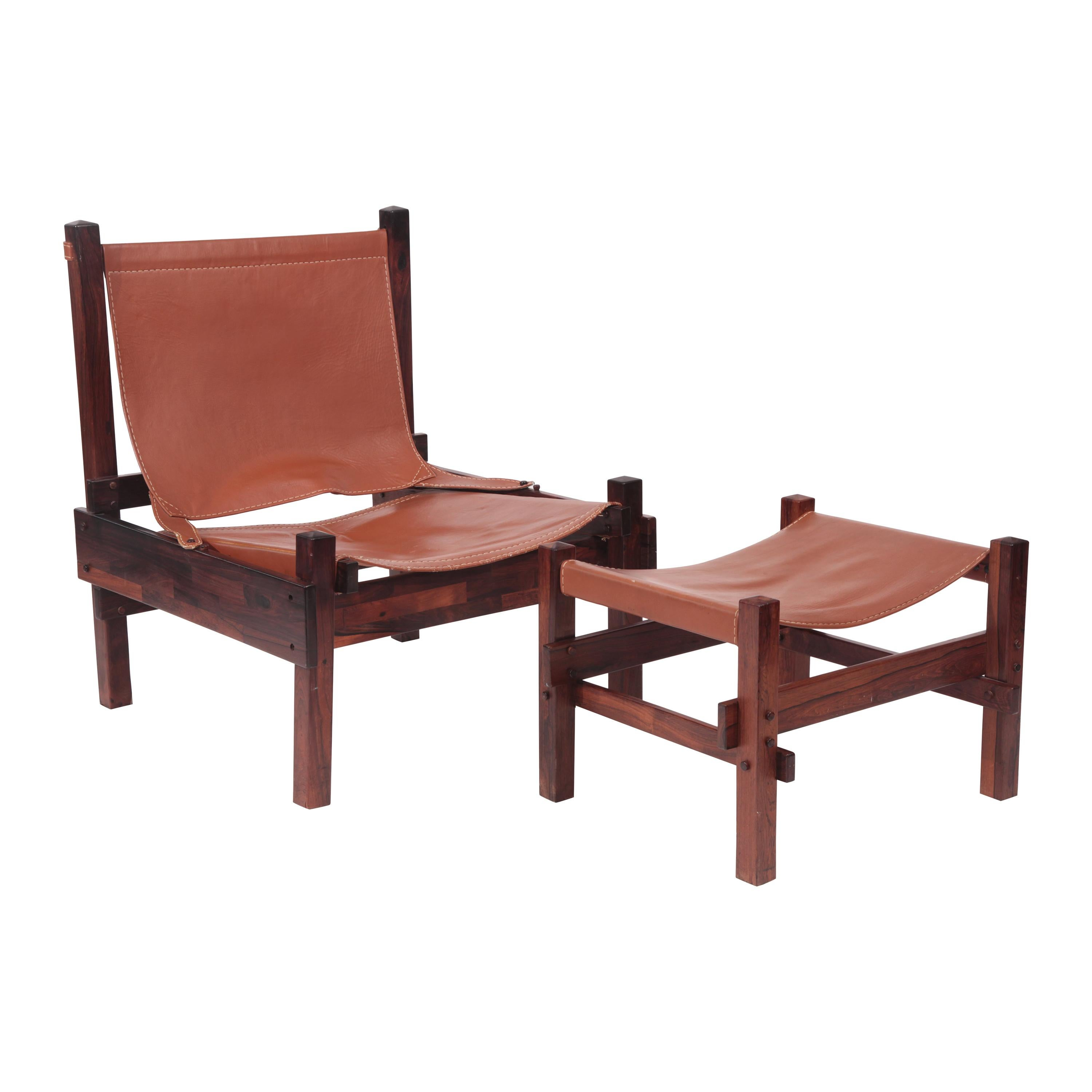 Brazilian Rosewood and Leather Chair and Ottoman