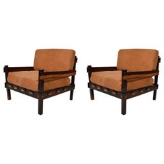 Brazilian Rosewood and Leather Lounge Chairs 1960s Sergio Rodrigues Sao Paulo