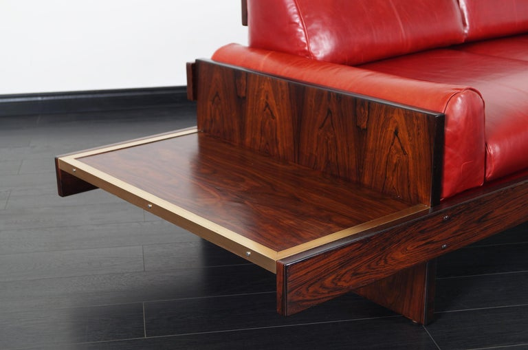 Mid-Century Modern Vintage Brazilian Rosewood and Leather Sofa Attributed to Celina Moveis For Sale