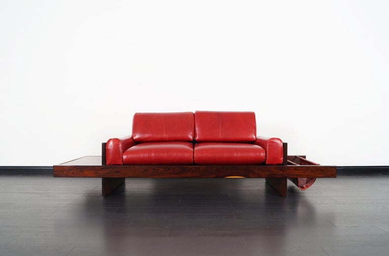 Mid-20th Century Vintage Brazilian Rosewood and Leather Sofa Attributed to Celina Moveis For Sale