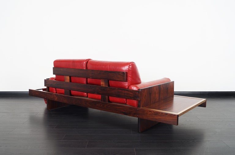 Vintage Brazilian Rosewood and Leather Sofa Attributed to Celina Moveis For Sale 1