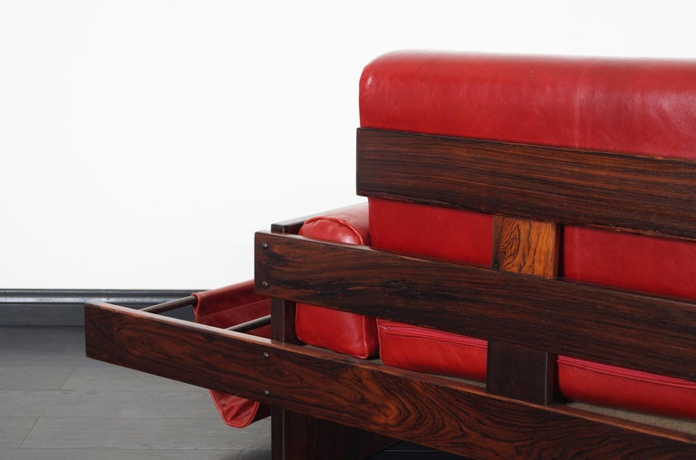 Vintage Brazilian Rosewood and Leather Sofa Attributed to Celina Moveis For Sale 2