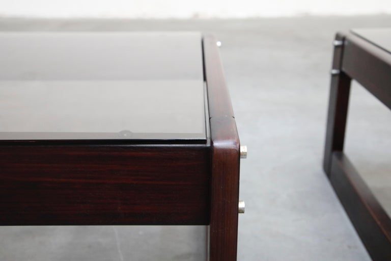 Brazilian Rosewood and Smoked Glass Side Tables by Percival Lafer, 1960s Brazil  For Sale 6