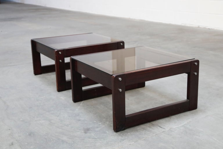 Modern Brazilian Rosewood and Smoked Glass Side Tables by Percival Lafer, 1960s Brazil  For Sale