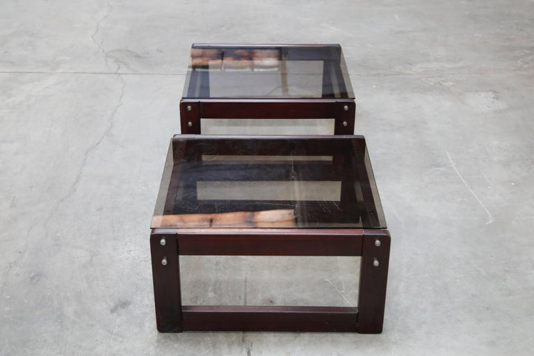 Brazilian Rosewood and Smoked Glass Side Tables by Percival Lafer, 1960s Brazil  In Good Condition For Sale In Los Angeles, CA