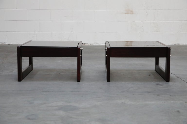Brazilian Rosewood and Smoked Glass Side Tables by Percival Lafer, 1960s Brazil  For Sale 1