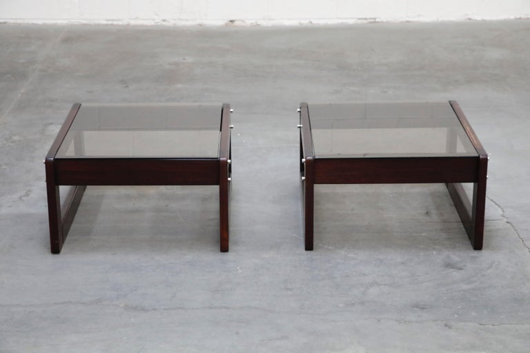 Brazilian Rosewood and Smoked Glass Side Tables by Percival Lafer, 1960s Brazil  For Sale 2