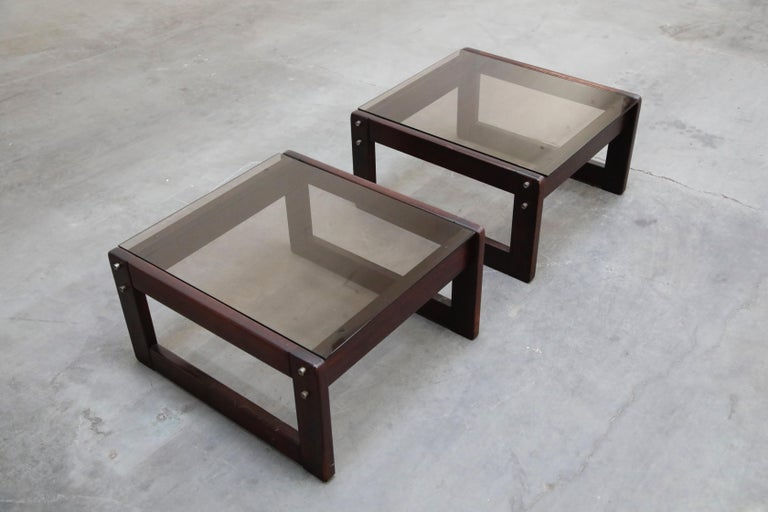 Brazilian Rosewood and Smoked Glass Side Tables by Percival Lafer, 1960s Brazil  For Sale 3