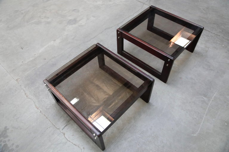 Brazilian Rosewood and Smoked Glass Side Tables by Percival Lafer, 1960s Brazil  For Sale 4