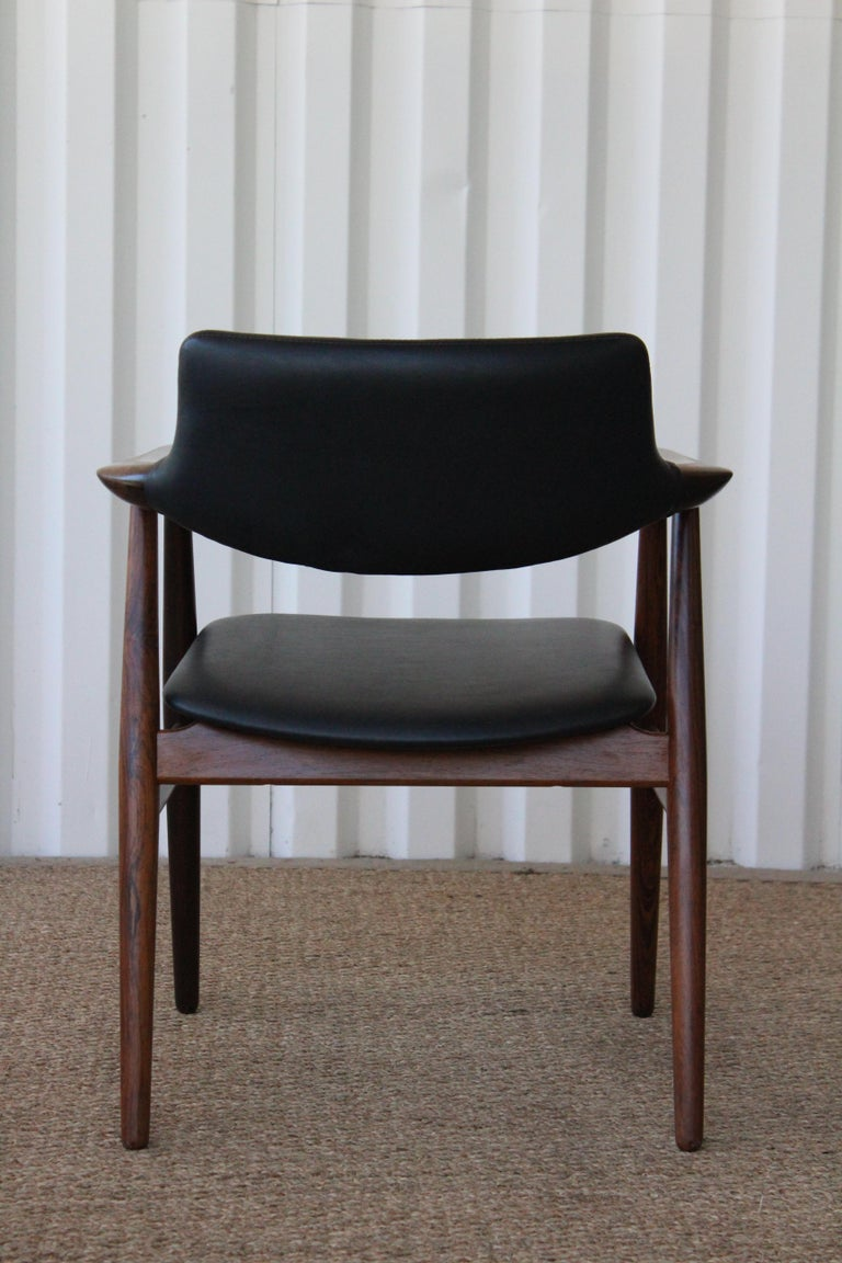 Leather Brazilian Rosewood Armchair by Svend Åge Eriksen for Glostrup, Denmark, 1960s For Sale