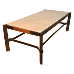 Brazilian Rosewood and Iron Coffee Table with Marble Top