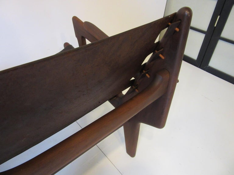 Brazilian Rosewood / Leather Sofa by Angel Pazmino For Sale 4