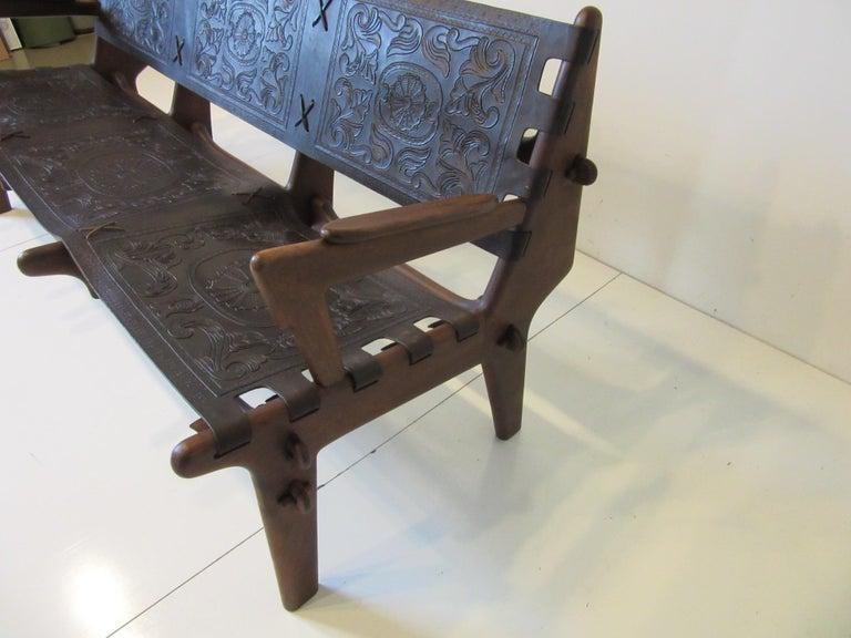 Ecuadorean Brazilian Rosewood / Leather Sofa by Angel Pazmino For Sale