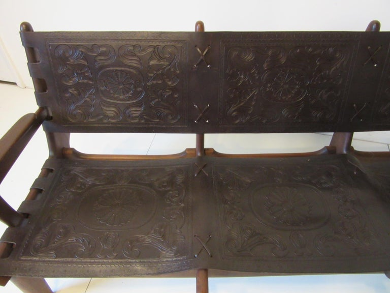 Brazilian Rosewood / Leather Sofa by Angel Pazmino In Good Condition For Sale In Cincinnati, OH