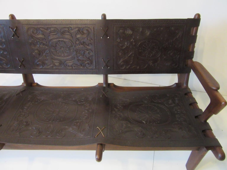 20th Century Brazilian Rosewood / Leather Sofa by Angel Pazmino For Sale