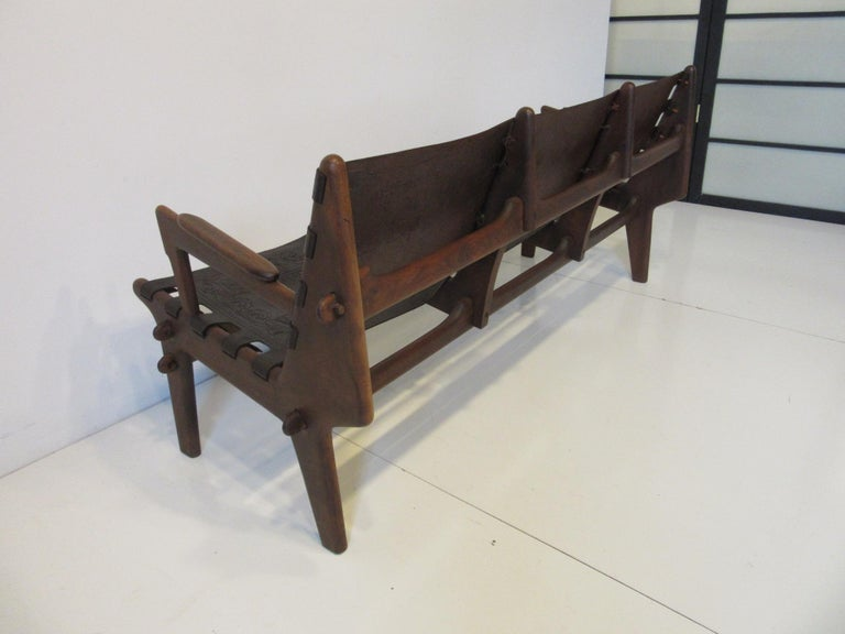 Brazilian Rosewood / Leather Sofa by Angel Pazmino For Sale 2