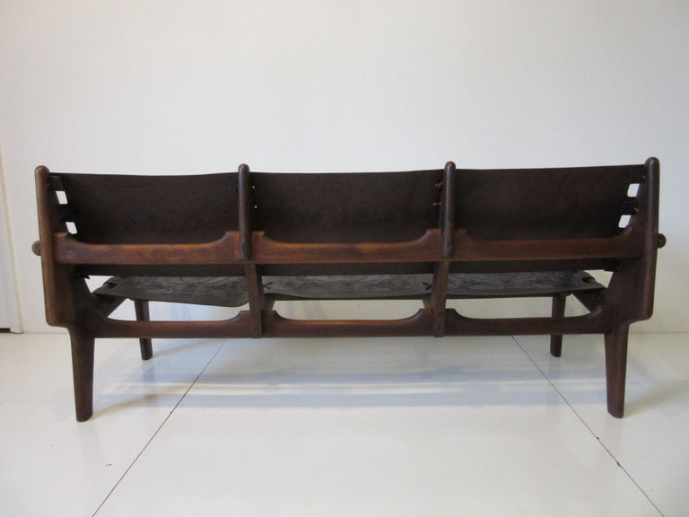 Brazilian Rosewood / Leather Sofa by Angel Pazmino For Sale 3