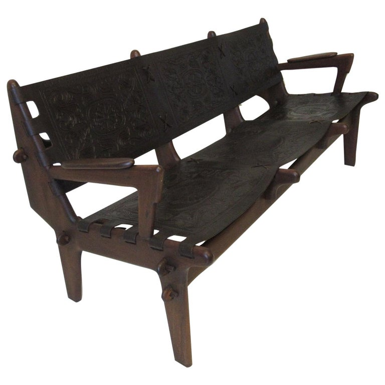 Brazilian Rosewood / Leather Sofa by Angel Pazmino For Sale