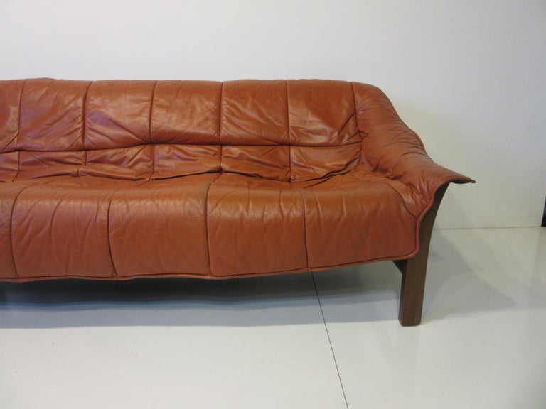 Mid-Century Modern Brazilian Rosewood / Leather Sofa by Percival Lafer