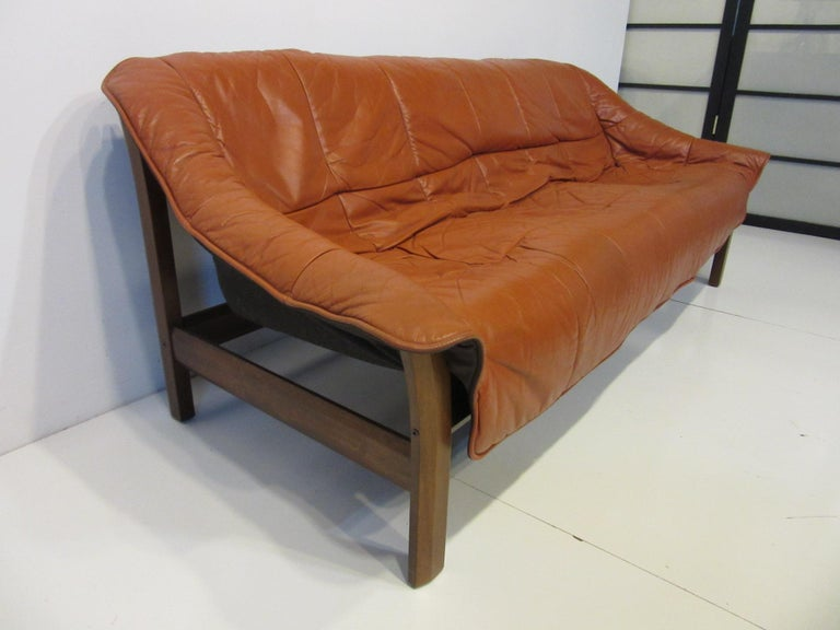 Brazilian Rosewood / Leather Sofa by Percival Lafer In Good Condition In Cincinnati, OH