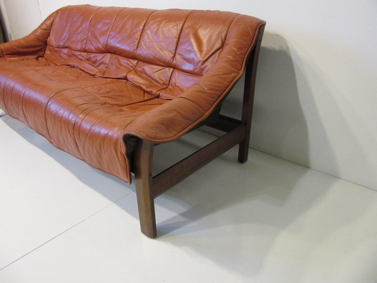 20th Century Brazilian Rosewood / Leather Sofa by Percival Lafer