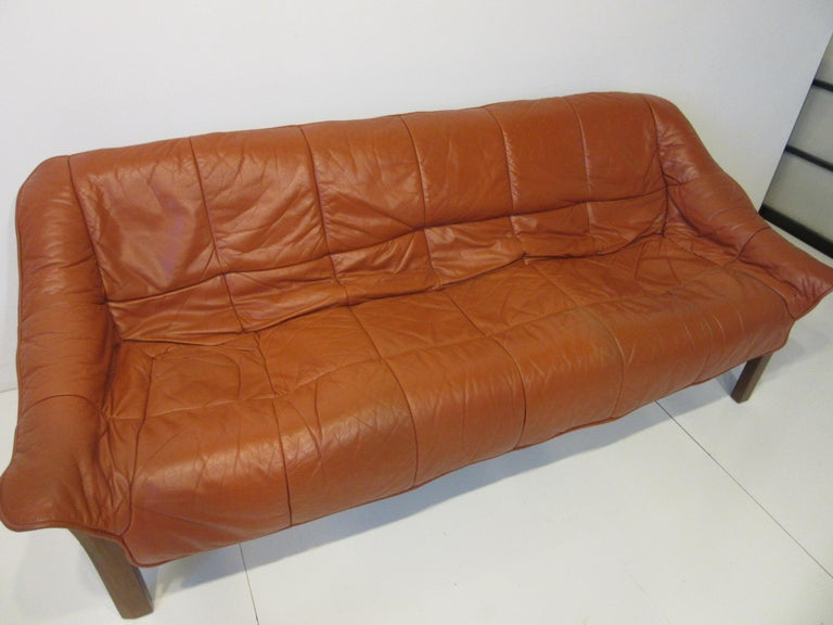 Brazilian Rosewood / Leather Sofa by Percival Lafer 2