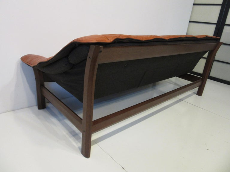 Brazilian Rosewood / Leather Sofa by Percival Lafer 3