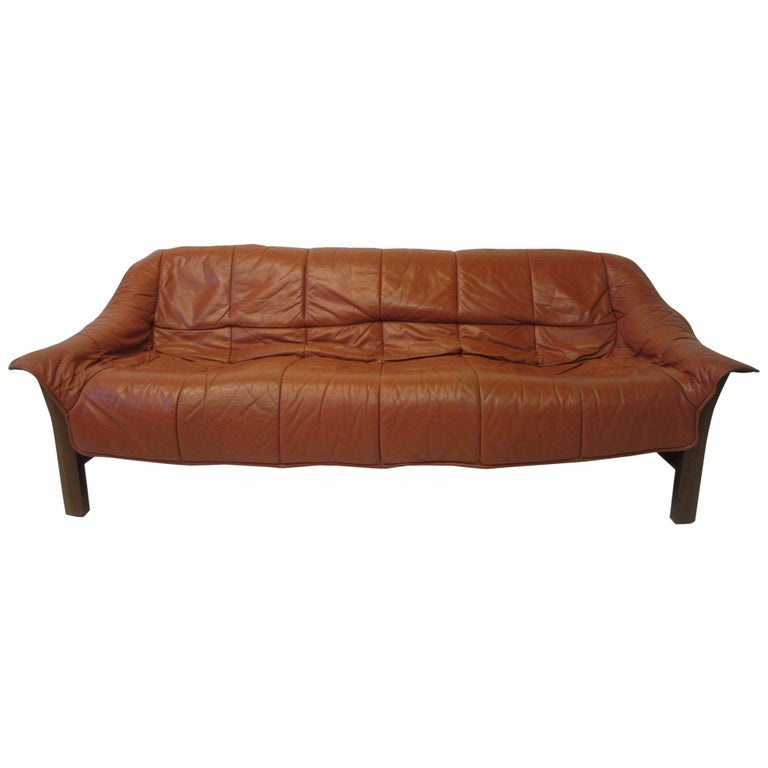 Brazilian Rosewood / Leather Sofa by Percival Lafer