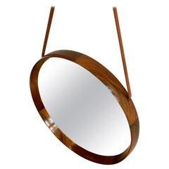 Brazilian Rosewood & Leather Wall Mirror by Uno & Östen Kristiansson for Luxus