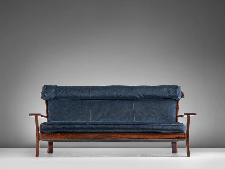 South American Brazilian Rosewood Sofa in Velvet Upholstery For Sale