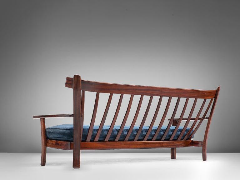 Brazilian Rosewood Sofa in Velvet Upholstery In Good Condition For Sale In Waalwijk, NL