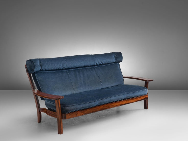 Mid-20th Century Brazilian Rosewood Sofa in Velvet Upholstery For Sale